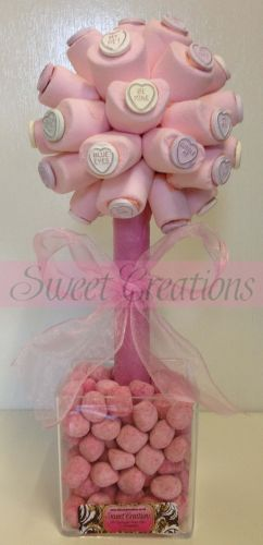 Pink Marshmallow Hearts Sweet Tree 35cm